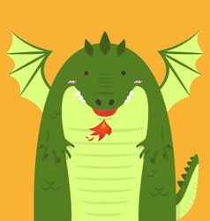 Cute big fat green dragon vector