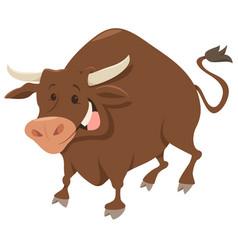 Cute bull farm animal character vector