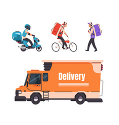 delivery service cartoon walking courier on vector image