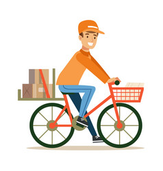 delivery service worker delivering boxes with vector image