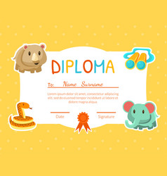 diploma template for kids with place for your text vector image