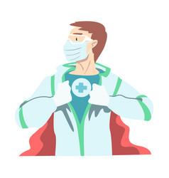doctor wearing medical mask and superhero costume vector image