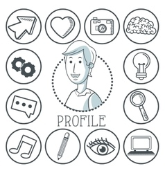 Doodle icon design profile icon draw concept vector image