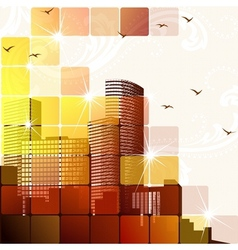 Dynamic cityscape in brown vector