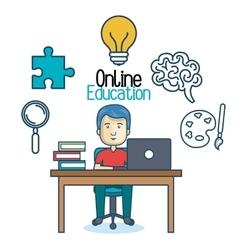 Education online man desk laptop vector