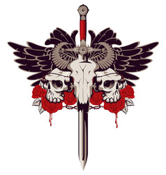 Emblem with skulls sword roses and wings vector