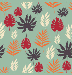 exotic tropical leaves seamless pattern on vector image