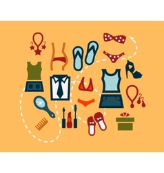 flat fashion icons set vector image