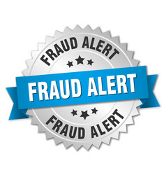 Fraud alert round isolated silver badge vector