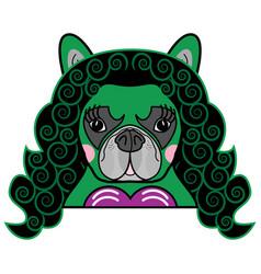 Girls room kids style cute bulldog she hulk vector