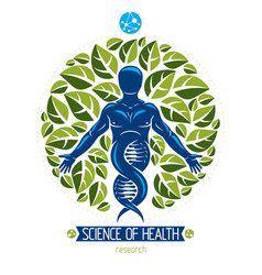 Graphic of muscular human depicted as dna symbol vector