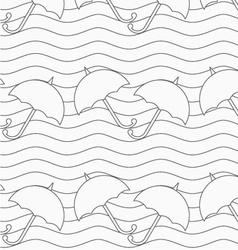 Gray umbrellas in wavy continues lines vector