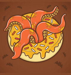 halloween donut with tentacles of octopus vector image