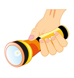 Hand with flash-light vector