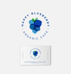 Happy blueberry organic logo business card vector