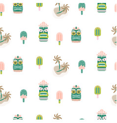 hawaii seamless pattern tiki mask and palm vector image