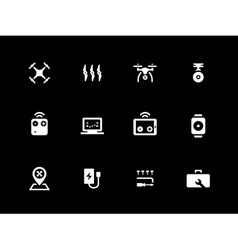 Hexacopter and quadcopter icons on black vector