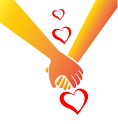 holding hands heart shape valentines symbol logo vector image