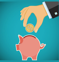 Human hand with coin and piggy bank investments vector