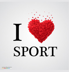 I love sport heart sign vector