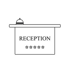 icon of hotel reception desk with bell vector image