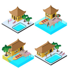 Isometric image set with bungalows motorboats vector