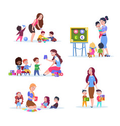 kids in kindergarten fun children learning and vector image