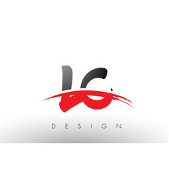 Lc l c brush logo letters with red and black vector