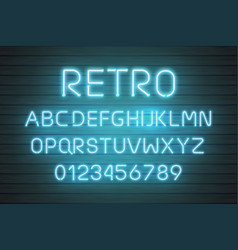 light neon font letter set bar sign type vector image