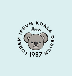line style color koala bear face with retro vector image
