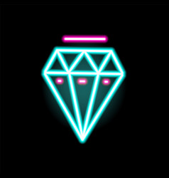 luminous neon diamond symbol flat vector image