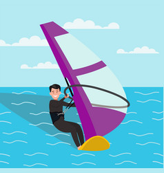 Man is engaged in windsurfing vector