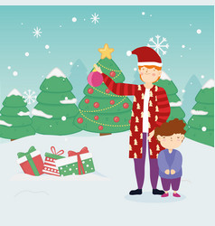 merry christmas father and son warm clothes gifts vector image