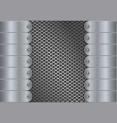 Metal perforated background with side plates vector