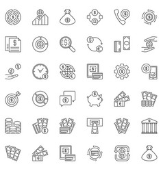 money concept icons set in outline style vector image