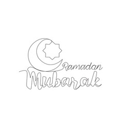 one continuous line drawing happy eid al fitr vector image