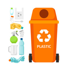Orange garbage can with plastic vector