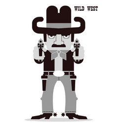 Owboy aiming the guns american western man vector
