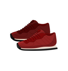 Pair of trendy red sneakers side view soft shoes vector