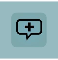 Pale blue plus message icon vector