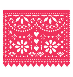 papel picado floral template design vector image