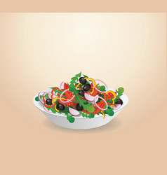 Plate of vegetable salad lettuce vegetables vector