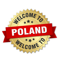 Poland 3d gold badge with red ribbon vector
