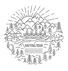 Rafting tour template vector