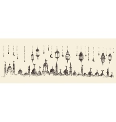 Ramadan celebration hand drawn vector image