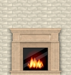 Realistic Marble Fireplace with Fire in Interior vector image