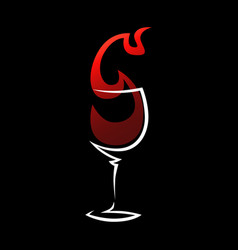 red wine glass symbol icon vector image