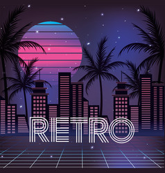 Retro city with palms and geometric sun vector