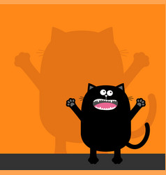 Screaming cat silhouette looking up wall shadow vector