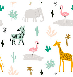 seamless childish pattern with african animals vector image
